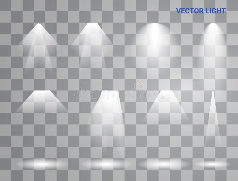 Les lumières blanches de faisceau placent de différentes formes et les projections brillant dans la bannière d'obscurité soustrai illustration de vecteur