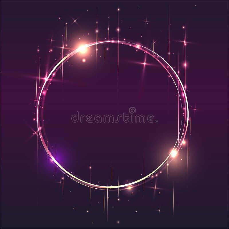 Les lumières brillantes rondes époussettent le cadre de particules de traînée sur le backgro pourpre illustration libre de droits