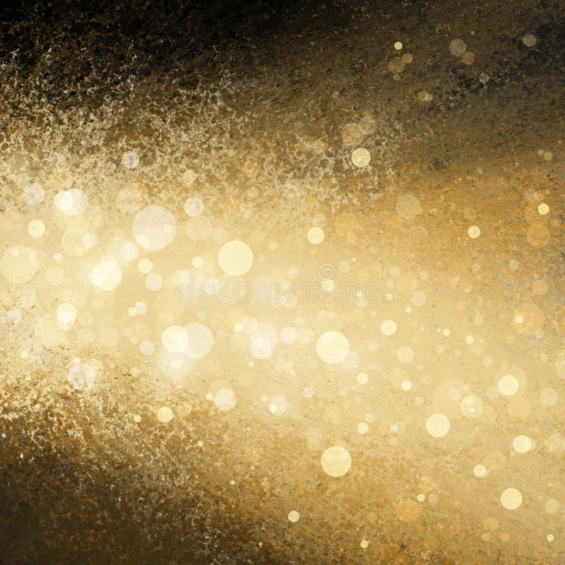 Les lumières de Noël blanc d'or ont brouillé le fond images stock