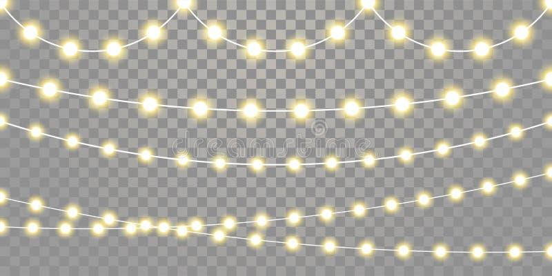 Les lumières de Noël ont isolé des ficelles de lampe de guirlande sur le fond transparent illustration libre de droits