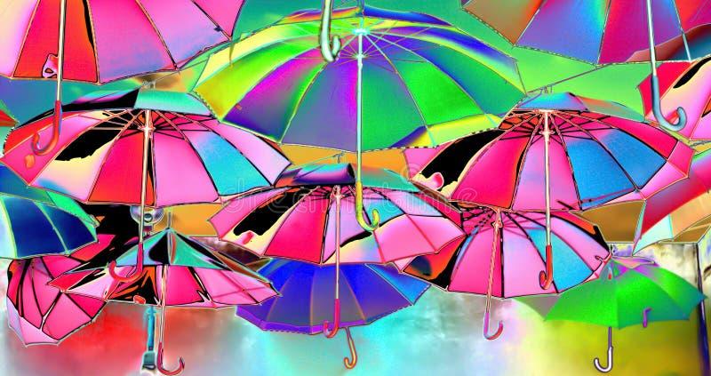 Les lumières et les couleurs de l'arc-en-ciel reflété dans les parapluies vers le ciel illustration stock