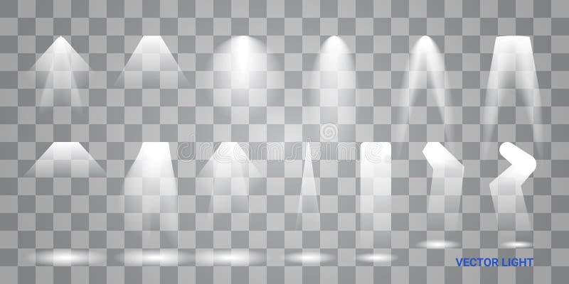 Les lumi?res blanches de faisceau placent de diff?rentes formes et les projections brillant dans la banni?re d'obscurit? soustrai illustration stock
