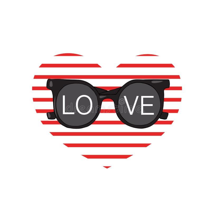 Les lunettes de soleil avec l'inscription aiment sur le fond du coeur des bandes Conception pour des T-shirts illustration de vecteur