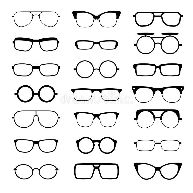 Les lunettes de soleil, lunettes, modèle différent en verre de connaisseur forment des icônes de silhouettes de vecteur illustration de vecteur
