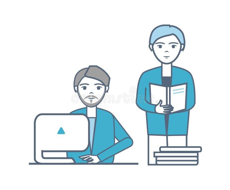 Les mâles collaboration et travail d'équipe des personnes dirigent illustration libre de droits