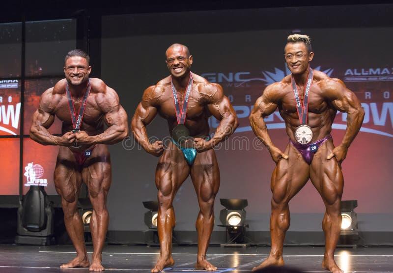 Les médaillés de bodybuilding posent ensemble photo libre de droits