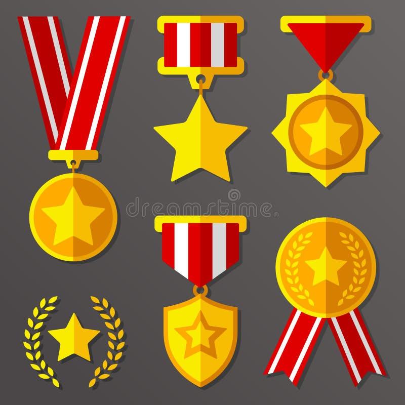 Les médailles et les récompenses plates ont placé avec l'icône d'étoiles illustration libre de droits
