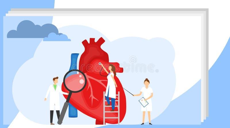 Les médecins examinent le coeur Concept de l'examen médical du coeur Le docteur de femme écoute le coeur avec a illustration libre de droits
