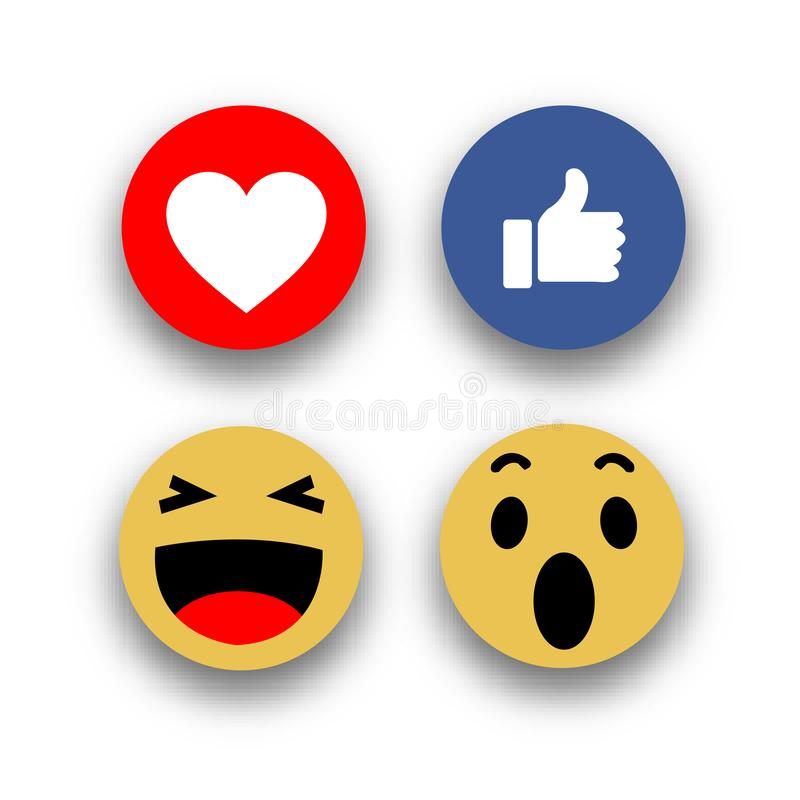 Les médias sociaux font face aux icônes plates d'emojis de réaction illustration libre de droits