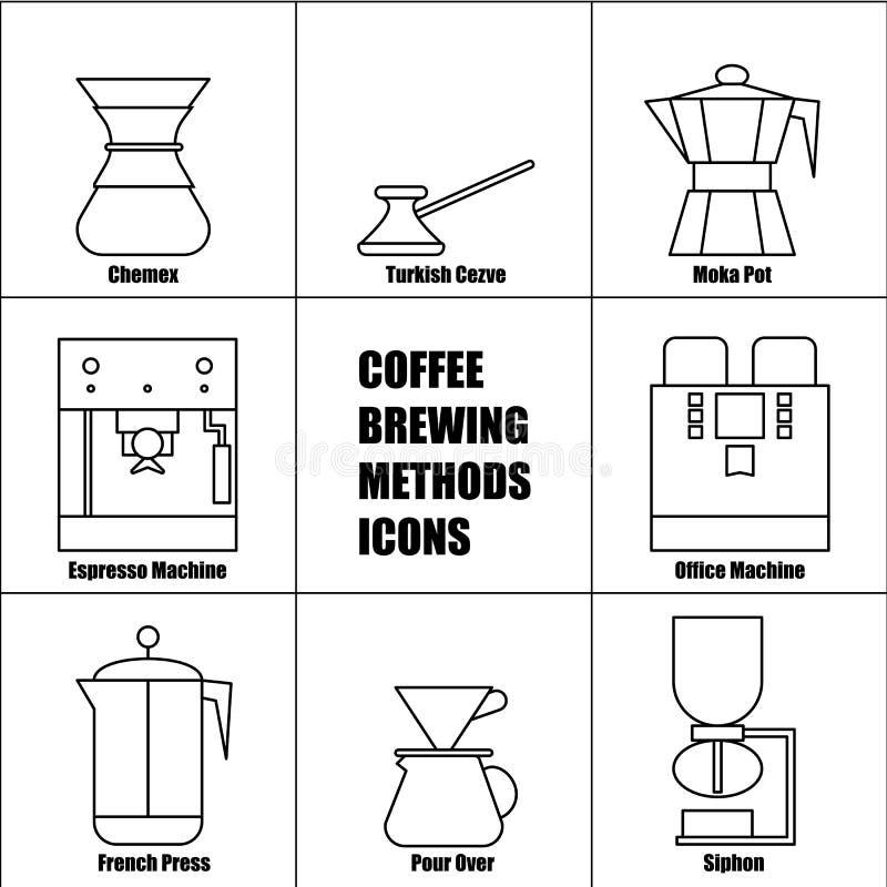 Les méthodes de brassage de café, dirigent la ligne mince ensemble d'icône illustration libre de droits