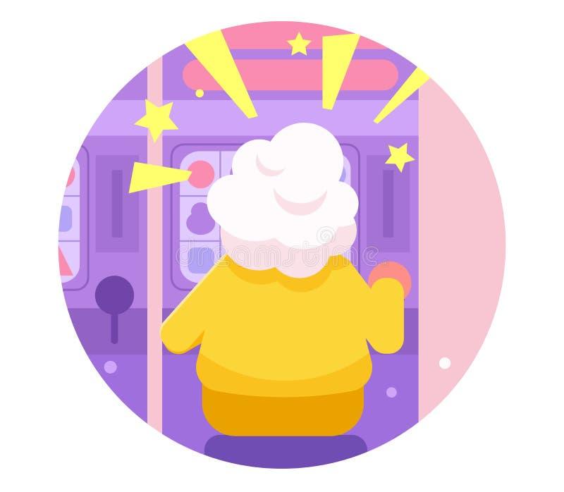 Les machines à sous de casino de jeu de grand-mère dirigent cartoon Art d'isolement illustration libre de droits