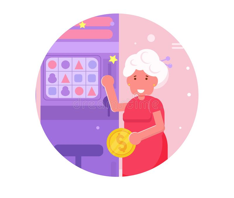 Les machines à sous de casino de jeu de grand-mère dirigent cartoon Art d'isolement illustration de vecteur