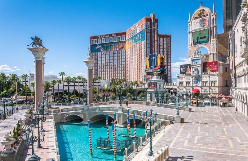 Les magasins de Grand Canal au vénitien et prisent l'île, le casino luxueux et l'hôtel Attractions touristiques de Las Vegas, Nev image libre de droits
