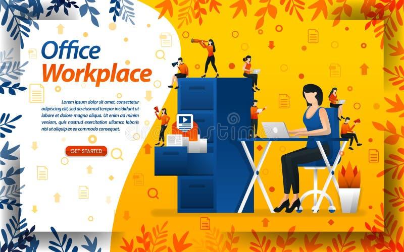 Les main-d'?uvre f?minine travaillent aux t?ches sur le bureau de travail avec des bureaux de lieu de travail et des ?tag?res de  illustration stock