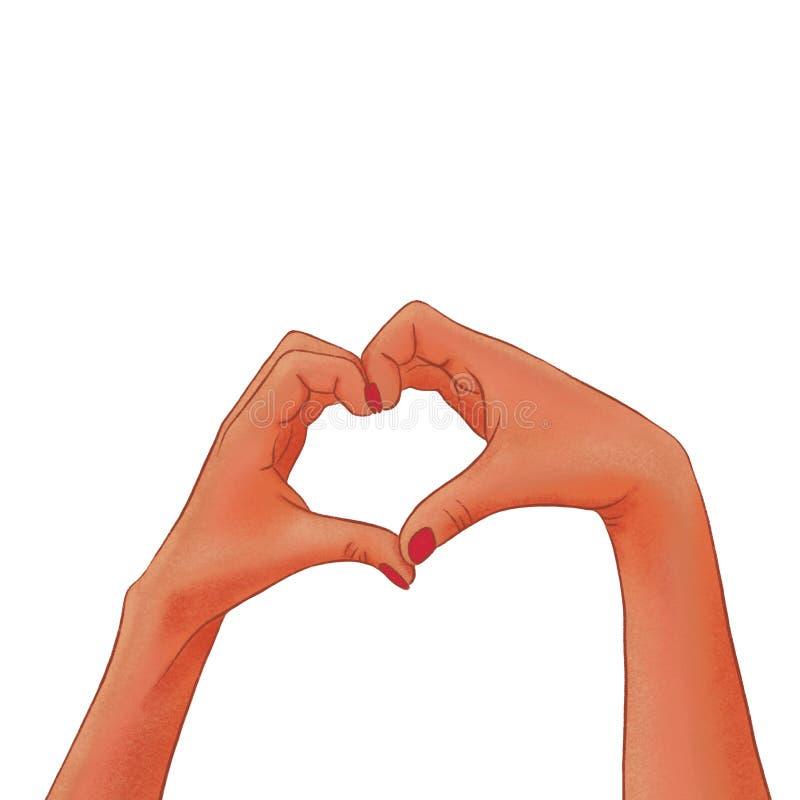 Les mains à la peau foncée de la femme tirée faisant une forme de coeur illustration libre de droits
