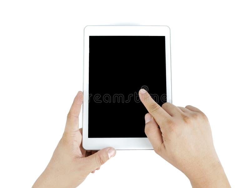 Les mains équipent l'Asiatique et l'indication par les doigts sur l'ipad images libres de droits