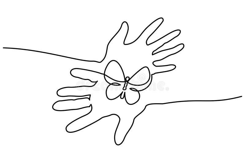 Les mains abstraites tiennent ligne continue de papillon l'une illustration de vecteur