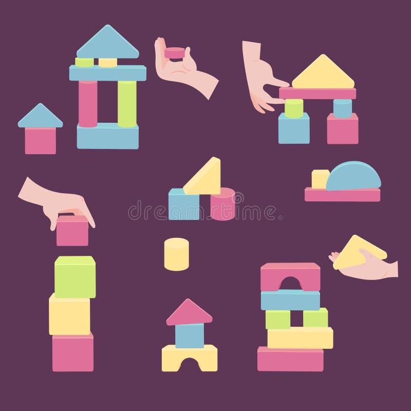 Les mains avec des briques pour la tour en bois de coordination jouent illustration de vecteur