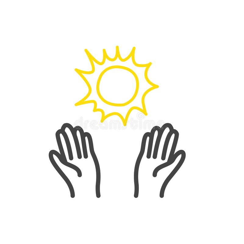 Les mains avec l'icône du soleil de griffonnage ont isolé Contour moderne sur le fond blanc illustration stock