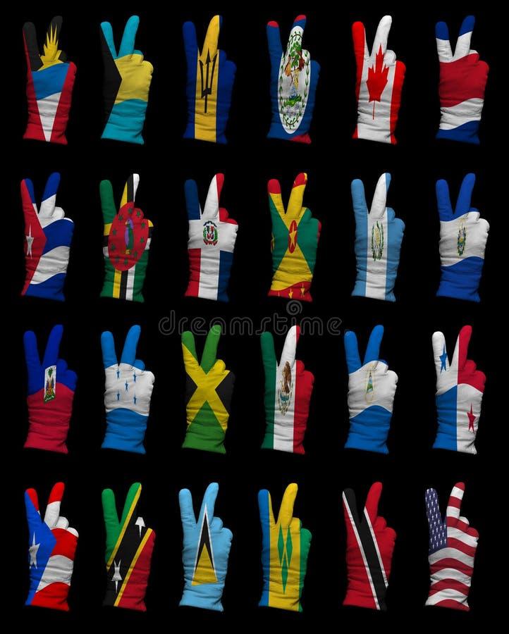 Drapeaux nationaux de l'Amérique du Nord, signe de victoire images libres de droits