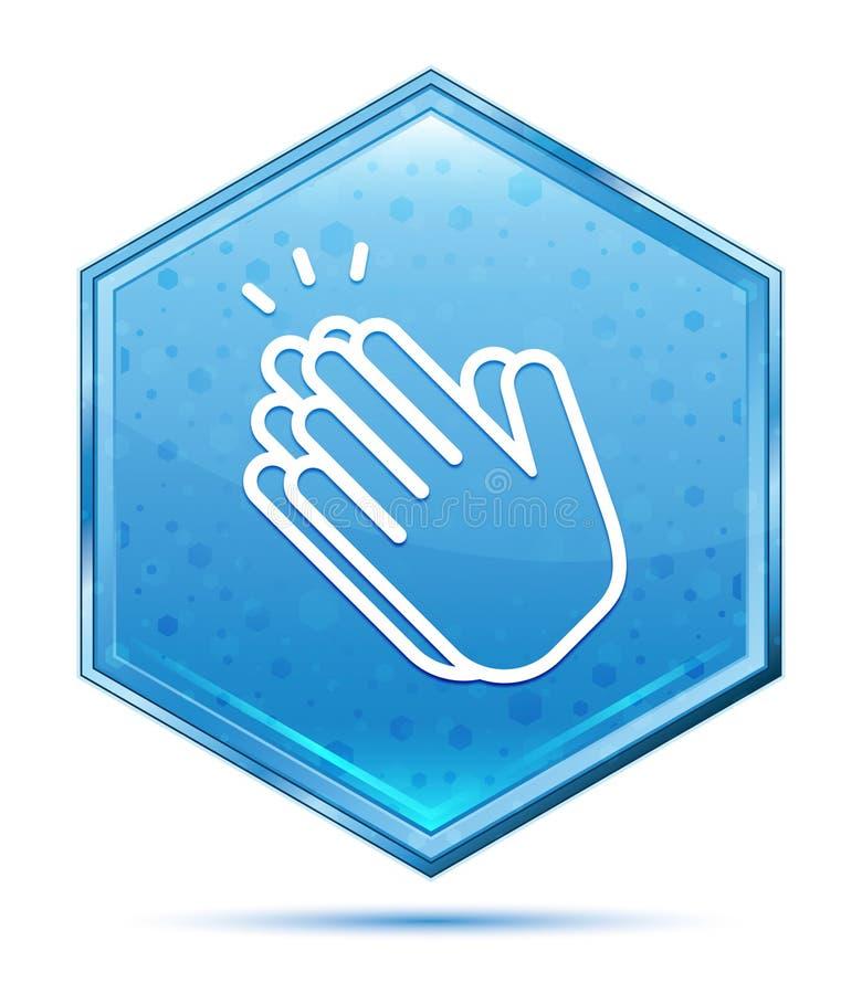 Les mains battent le bouton bleu en cristal d'hexagone d'icône illustration stock