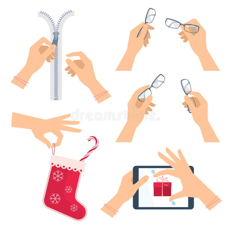 Les mains défont la fermeture éclair d'une tirette Main avec des verres, chaussette de Noël illustration stock