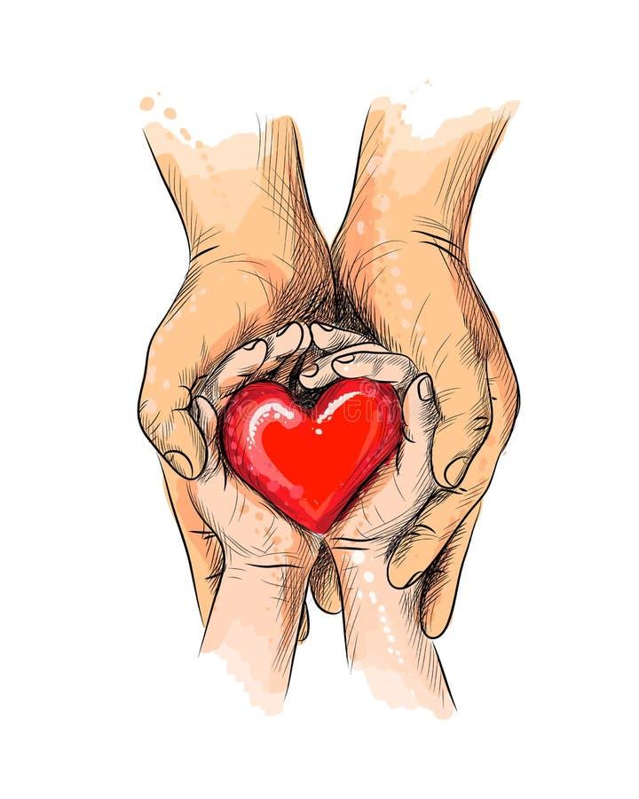 Les mains d'adulte et d'enfant tenant le coeur rouge, soins de santé, donnent, jour de coeur du monde illustration libre de droits