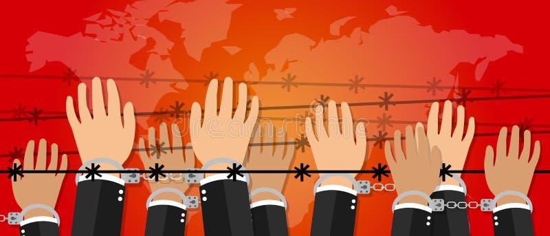 Les mains d'illustration de liberté de droits de l'homme sous le crime de fil contre le symbole d'activisme d'humanité menottent illustration de vecteur