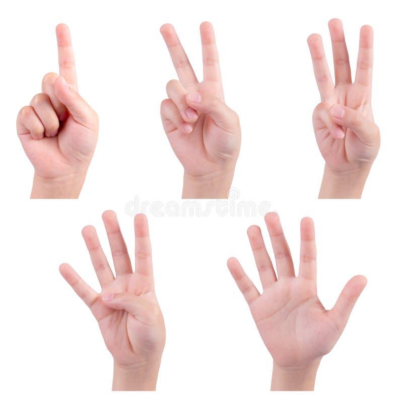 Les mains d'isolement d'enfants montrent le nombre photo libre de droits