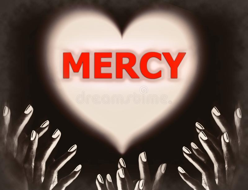 Les mains dans Dieu priant foncé Jésus pour la pitié devinent le thème religieux de religion d'amour photographie stock libre de droits