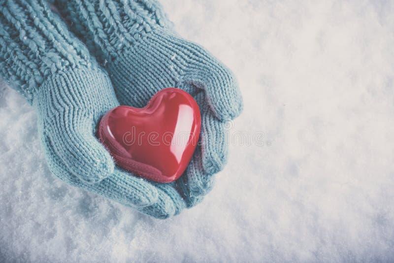 Les mains de femme dans des mitaines tricotées par sarcelle d'hiver légère tiennent le beau coeur rouge brillant sur le fond de n photos stock