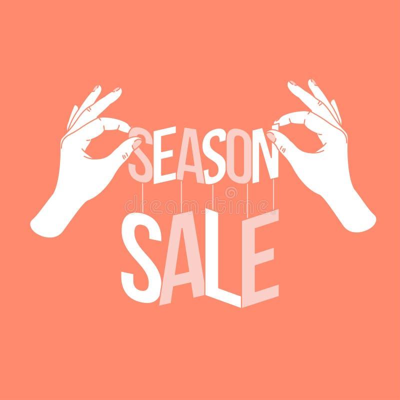 Les mains de femme tenant le papier ont coupé la vente de saison de mots Bannière de vente de saison Illustration de vecteur illustration libre de droits