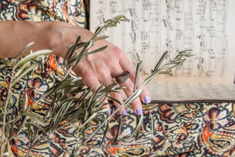 Les mains de femme tiennent des notes de piano Foyer sélectif images libres de droits