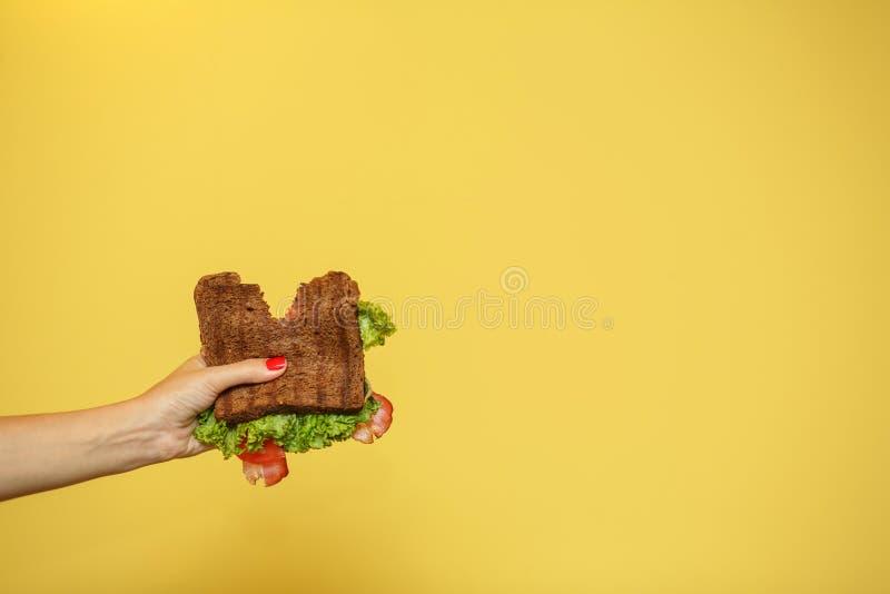 Les mains de femme tiennent le sandwich mordu sur le fond jaune Concept de promotion de sandwich photographie stock