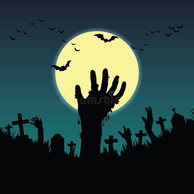 Les mains de Ghost ont sauté la nuit de pleine lune illustration de vecteur