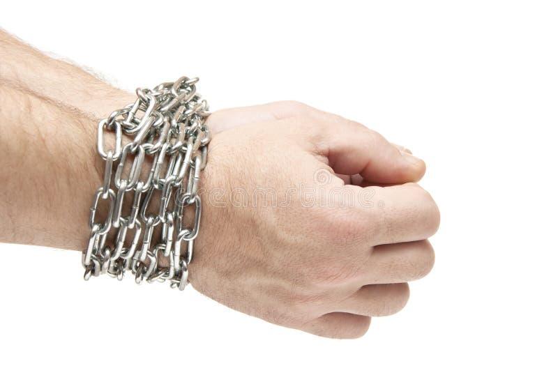 Les mains de l'homme attachées avec des réseaux photographie stock libre de droits
