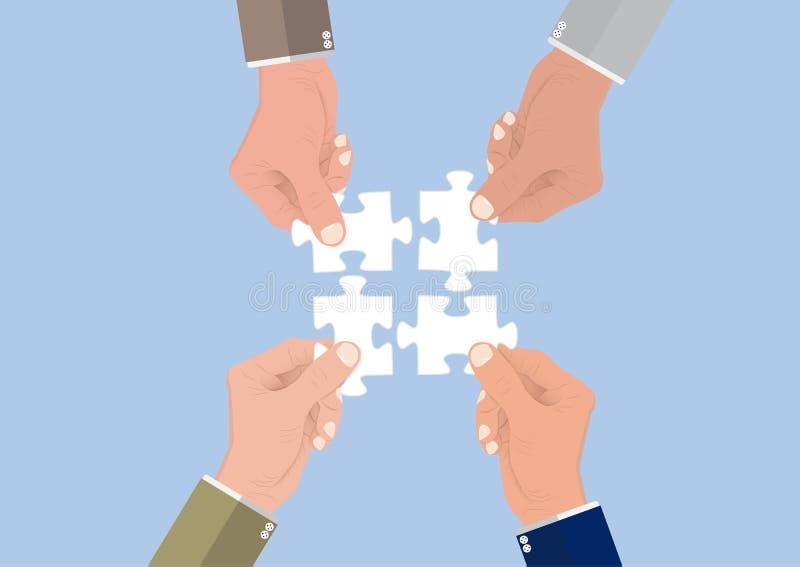 Les mains de l'homme d'affaires reliant des morceaux de puzzle denteux ensemble, concept réussi d'affaires de coopération de trav illustration libre de droits