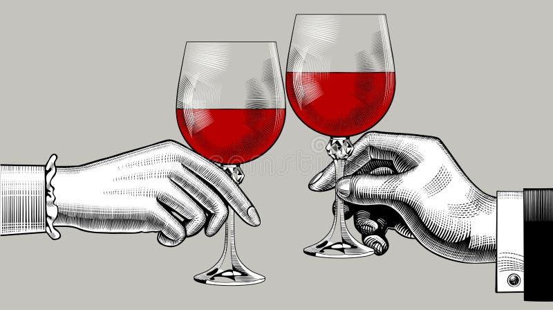 Les mains de l'homme et de la femme font tinter des verres avec le vin rouge illustration stock