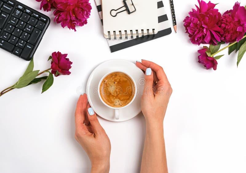 Les mains de la femme tenant une tasse de café sur la table avec les accessoires et les pivoines féminins photos libres de droits