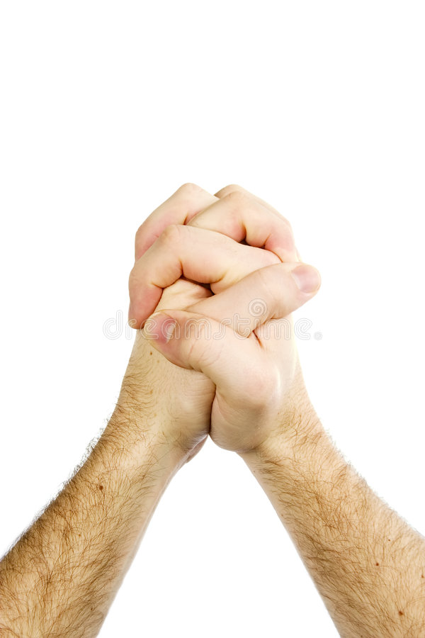 Les mains de prière ont isolé photographie stock