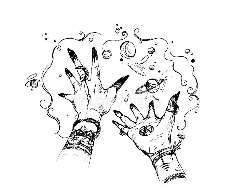 Les mains de sorcière avec la magie se produit autour Conception de l'avant-projet pour la copie, affiche, tatouage, autocollant, illustration de vecteur
