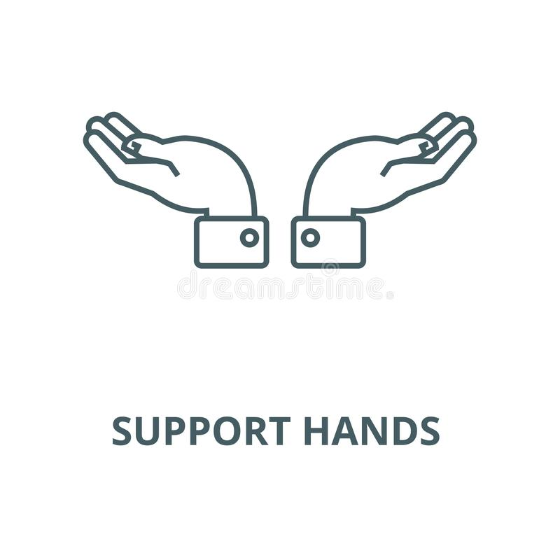 Les mains de soutien dirigent la ligne icône, concept linéaire, signe d'ensemble, symbole illustration libre de droits
