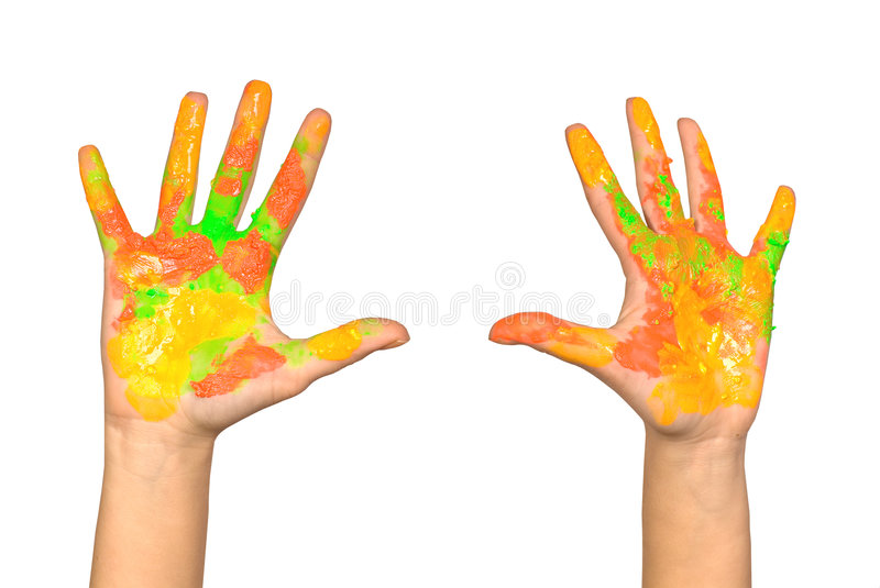 Les mains des enfants photo stock