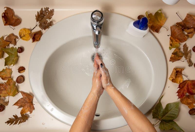 Les mains des femmes sont désinfectées par l'eau et le savon photos libres de droits