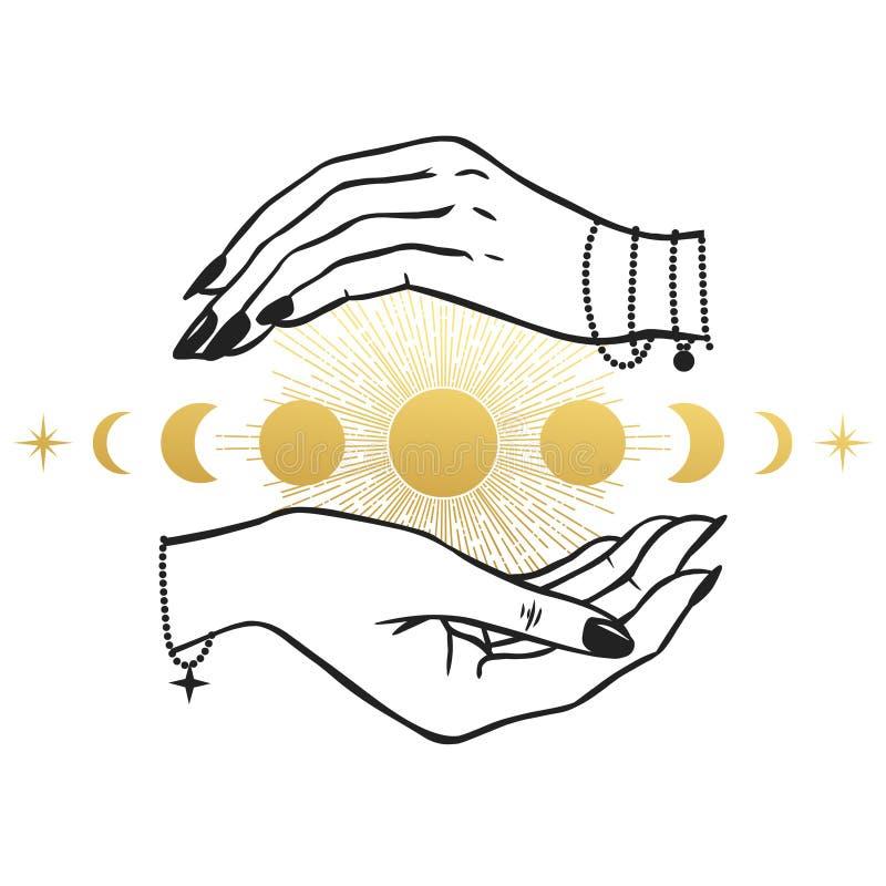 Les mains des femmes tenant la lune illustration libre de droits