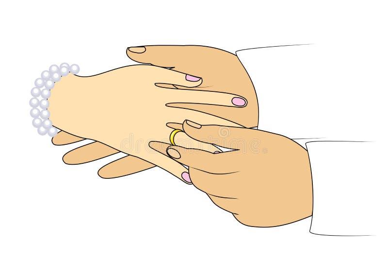 Les mains des nouveaux mariés au mariage Un homme utilise une bague de fiançailles à une fille Illustration de vecteur illustration stock