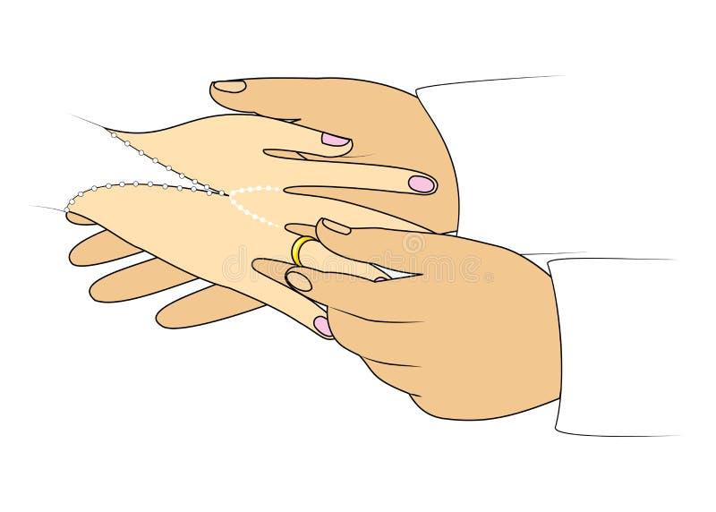 Les mains des nouveaux mari?s au mariage Un homme utilise une bague de fian?ailles ? une fille Illustration de vecteur illustration stock