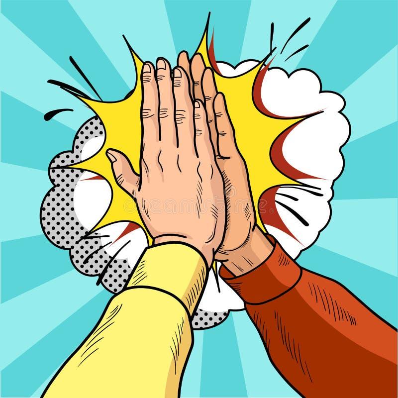 Les mains donnent à cinq l'art de bruit Mains masculines dans un geste de succès Chandails jaunes et rouges Illustration de bande illustration stock