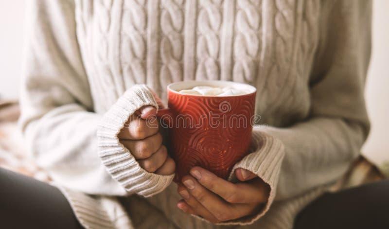 Les mains du ` s de femmes dans le chandail tiennent la tasse de café, de chocolat ou de thé chaud Confort d'hiver de concept, bo photographie stock libre de droits