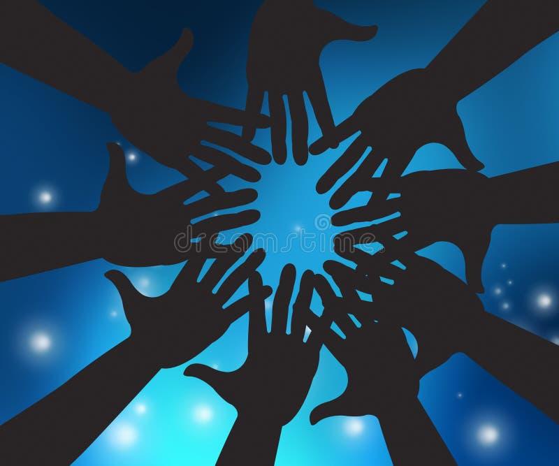 Les mains en ciel signifie l'unité et la paume de lumière du soleil illustration stock